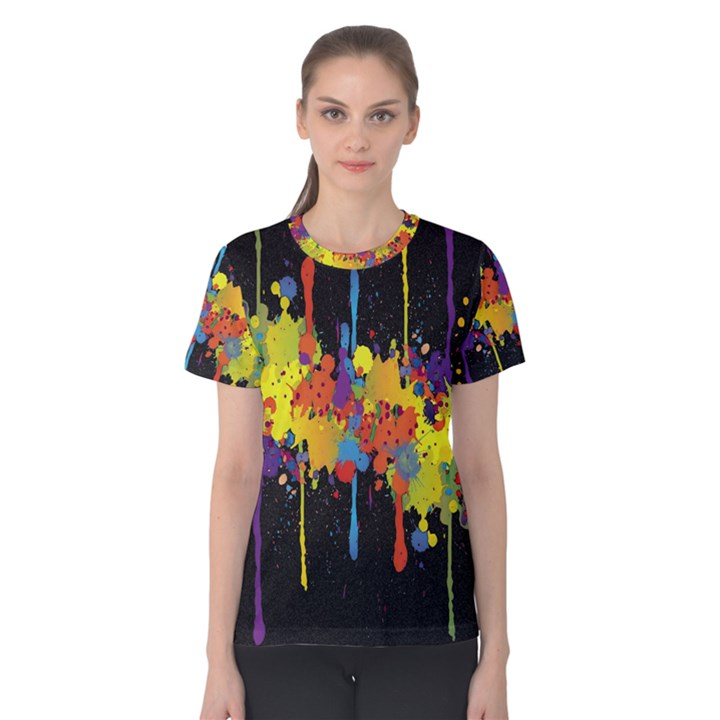 Crazy Multicolored Double Running Splashes Horizon Women s Cotton Tee