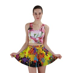 Crazy Multicolored Double Running Splashes Horizon Mini Skirt
