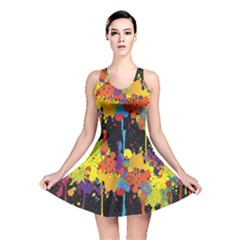 Crazy Multicolored Double Running Splashes Horizon Reversible Skater Dress