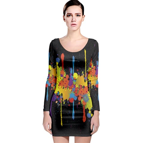 Crazy Multicolored Double Running Splashes Horizon Long Sleeve Bodycon Dress