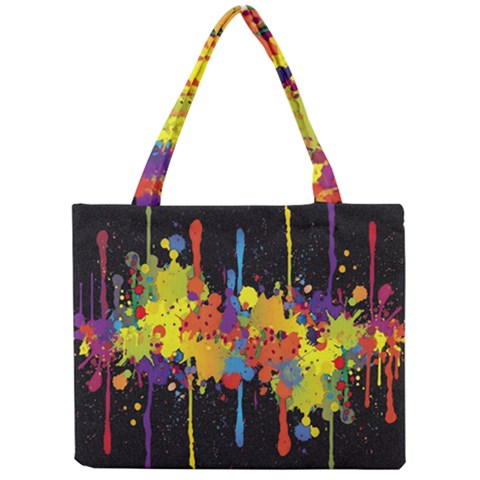 Crazy Multicolored Double Running Splashes Horizon Mini Tote Bag