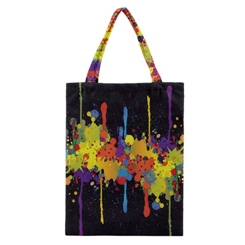 Crazy Multicolored Double Running Splashes Horizon Classic Tote Bag