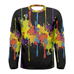 Crazy Multicolored Double Running Splashes Horizon Men s Long Sleeve Tee