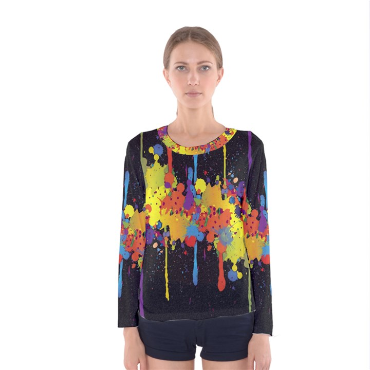 Crazy Multicolored Double Running Splashes Horizon Women s Long Sleeve Tee