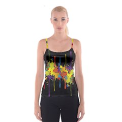 Crazy Multicolored Double Running Splashes Horizon Spaghetti Strap Top