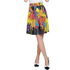 Crazy Multicolored Double Running Splashes Horizon A-Line Skirt