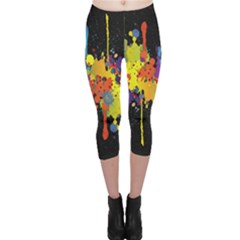 Crazy Multicolored Double Running Splashes Horizon Capri Leggings
