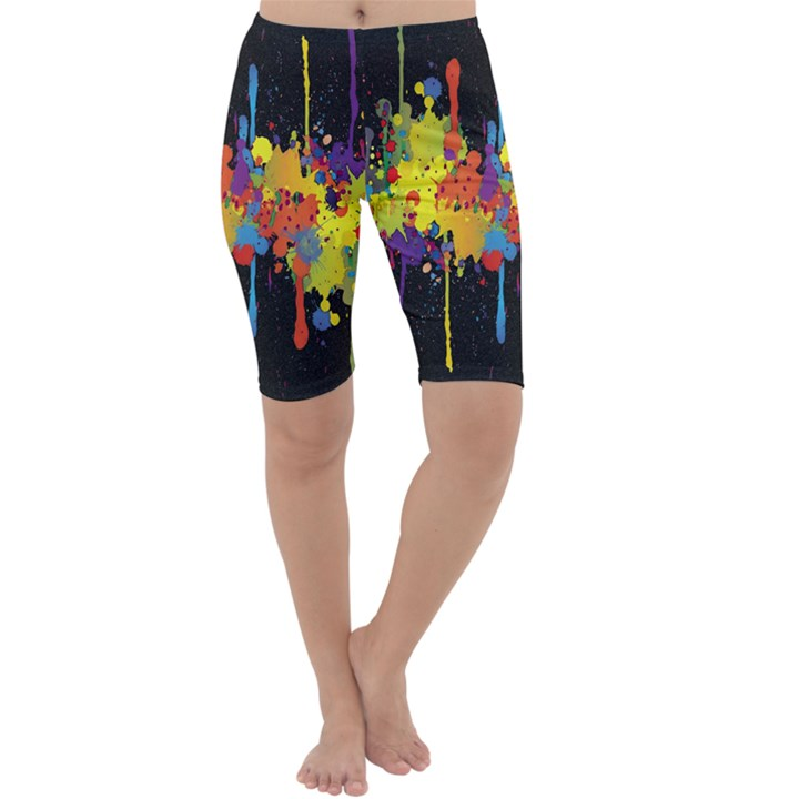 Crazy Multicolored Double Running Splashes Horizon Cropped Leggings