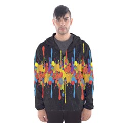 Crazy Multicolored Double Running Splashes Horizon Hooded Wind Breaker (Men)