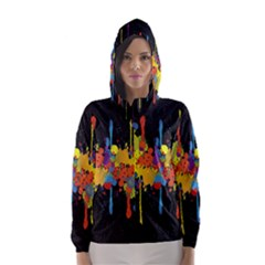 Crazy Multicolored Double Running Splashes Horizon Hooded Wind Breaker (Women)