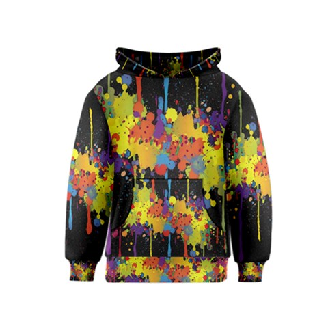 Crazy Multicolored Double Running Splashes Horizon Kids  Pullover Hoodie