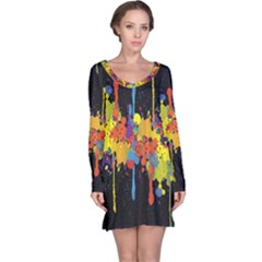 Crazy Multicolored Double Running Splashes Horizon Long Sleeve Nightdress