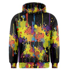 Crazy Multicolored Double Running Splashes Horizon Men s Zipper Hoodie