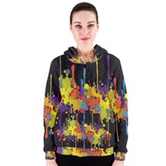 Crazy Multicolored Double Running Splashes Horizon Women s Zipper Hoodie