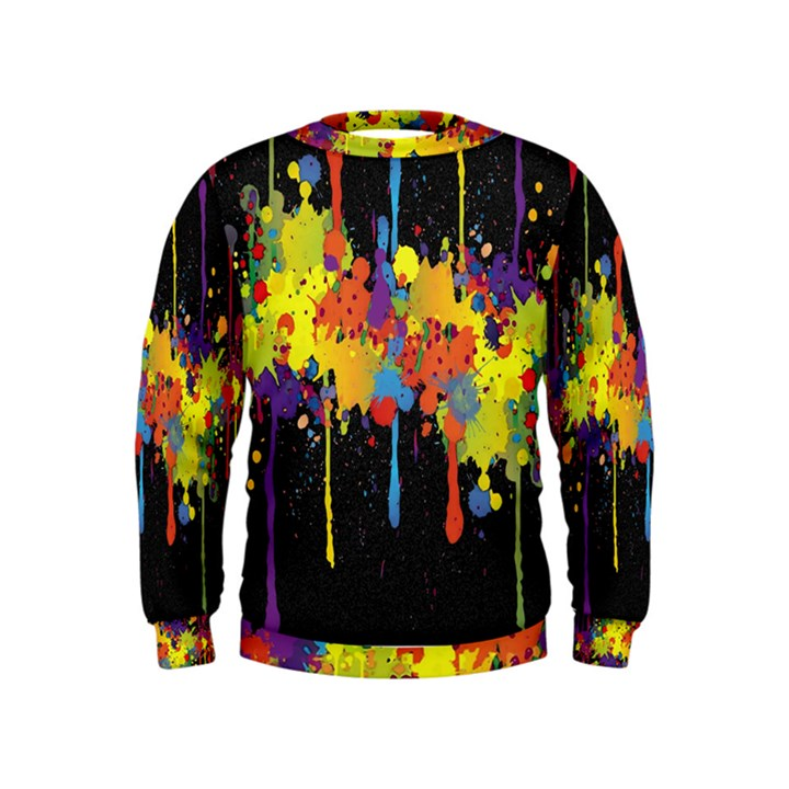 Crazy Multicolored Double Running Splashes Horizon Kids  Sweatshirt