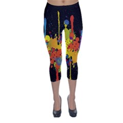Crazy Multicolored Double Running Splashes Horizon Capri Winter Leggings