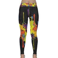 Crazy Multicolored Double Running Splashes Horizon Yoga Leggings