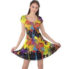Crazy Multicolored Double Running Splashes Horizon Cap Sleeve Dresses