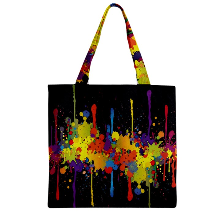Crazy Multicolored Double Running Splashes Horizon Zipper Grocery Tote Bag