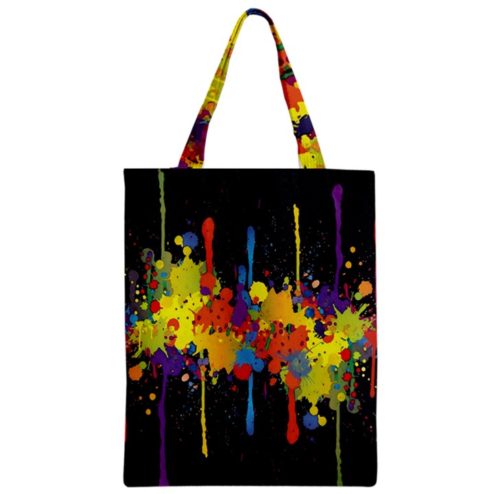 Crazy Multicolored Double Running Splashes Horizon Zipper Classic Tote Bag