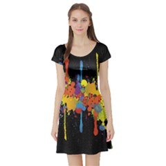 Crazy Multicolored Double Running Splashes Horizon Short Sleeve Skater Dress