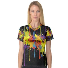 Crazy Multicolored Double Running Splashes Horizon Women s V Neck Sport Mesh Tee