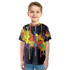 Crazy Multicolored Double Running Splashes Horizon Kids  Sport Mesh Tee
