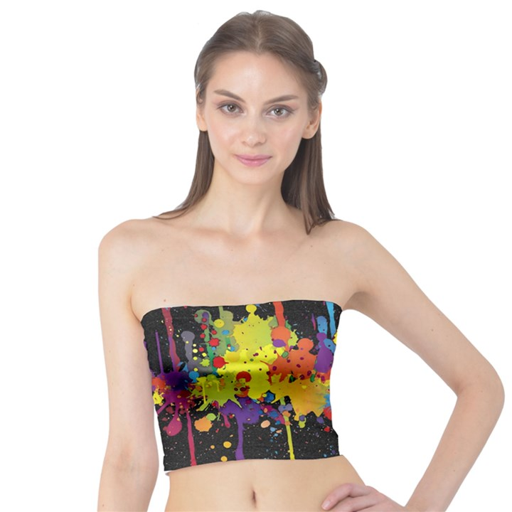 Crazy Multicolored Double Running Splashes Horizon Tube Top