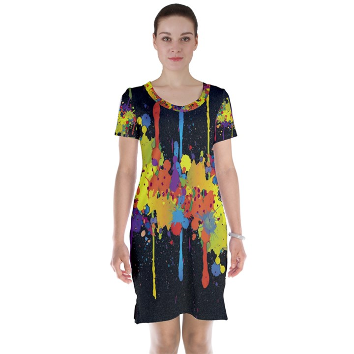 Crazy Multicolored Double Running Splashes Horizon Short Sleeve Nightdress