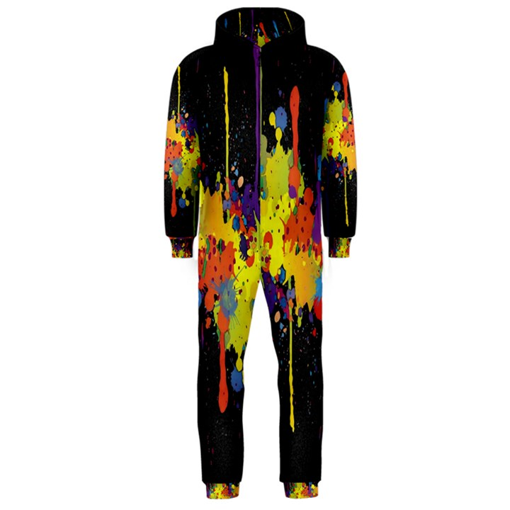 Crazy Multicolored Double Running Splashes Horizon Hooded Jumpsuit (Men)