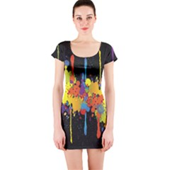 Crazy Multicolored Double Running Splashes Horizon Short Sleeve Bodycon Dress