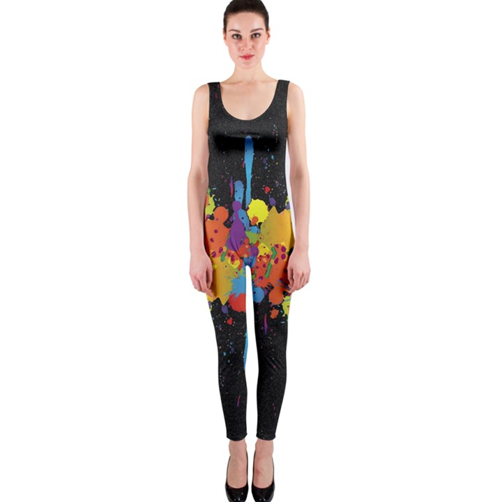 Crazy Multicolored Double Running Splashes Horizon OnePiece Catsuit