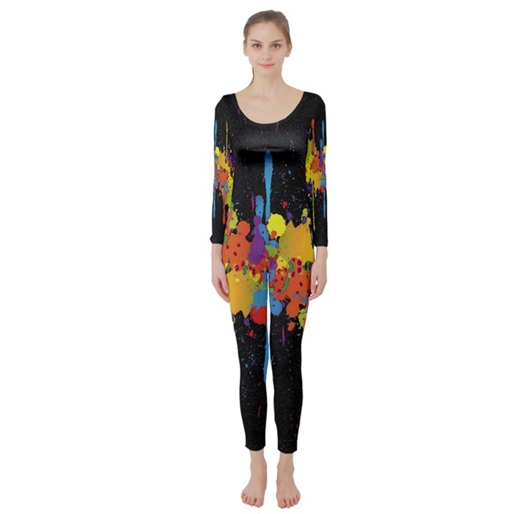 Crazy Multicolored Double Running Splashes Horizon Long Sleeve Catsuit