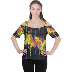 Crazy Multicolored Double Running Splashes Horizon Women s Cutout Shoulder Tee