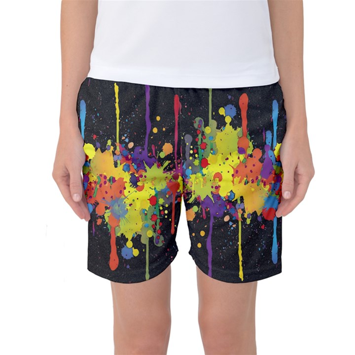 Crazy Multicolored Double Running Splashes Horizon Women s Basketball Shorts