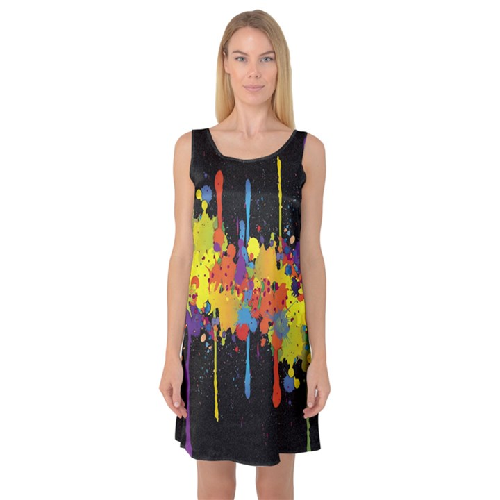 Crazy Multicolored Double Running Splashes Horizon Sleeveless Satin Nightdress