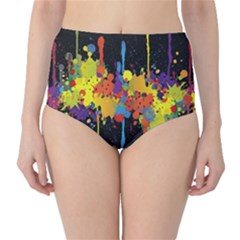 Crazy Multicolored Double Running Splashes Horizon High Waist Bikini Bottoms