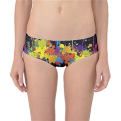 Crazy Multicolored Double Running Splashes Horizon Classic Bikini Bottoms