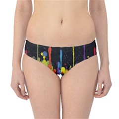 Crazy Multicolored Double Running Splashes Horizon Hipster Bikini Bottoms