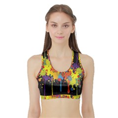 Crazy Multicolored Double Running Splashes Horizon Sports Bra with Border