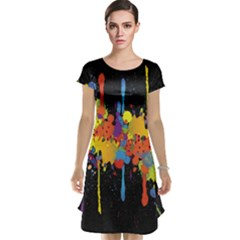 Crazy Multicolored Double Running Splashes Horizon Cap Sleeve Nightdress