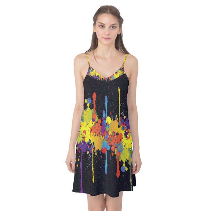 Crazy Multicolored Double Running Splashes Horizon Camis Nightgown