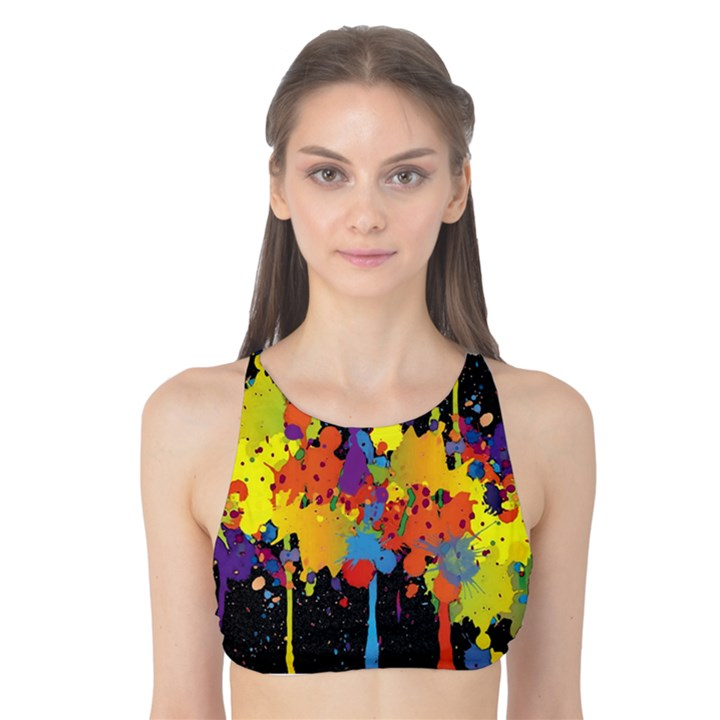 Crazy Multicolored Double Running Splashes Horizon Tank Bikini Top