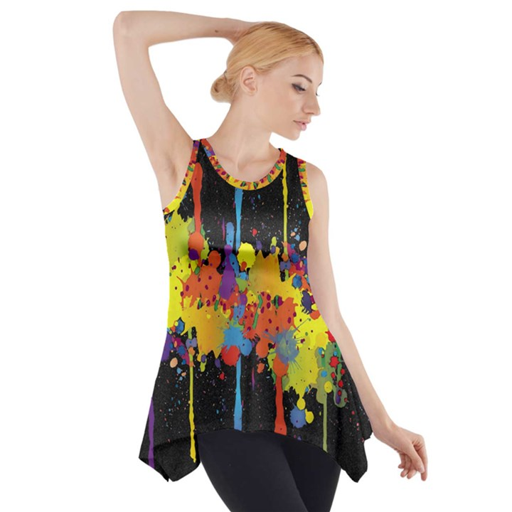 Crazy Multicolored Double Running Splashes Horizon Side Drop Tank Tunic