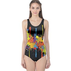 Crazy Multicolored Double Running Splashes Horizon One Piece Swimsuit
