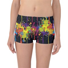Crazy Multicolored Double Running Splashes Horizon Reversible Boyleg Bikini Bottoms