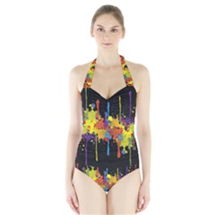 Crazy Multicolored Double Running Splashes Horizon Halter Swimsuit