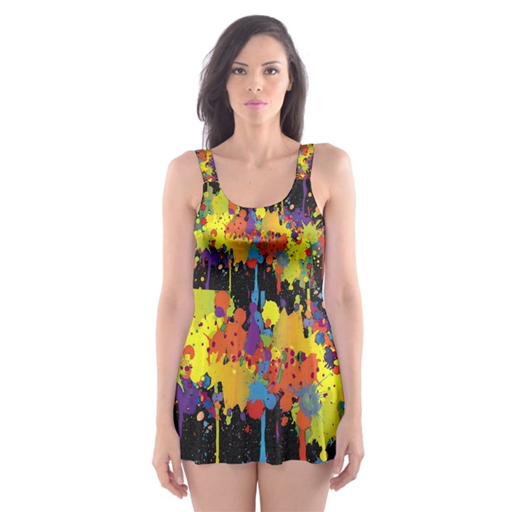 Crazy Multicolored Double Running Splashes Horizon Skater Dress Swimsuit