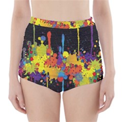 Crazy Multicolored Double Running Splashes Horizon High Waisted Bikini Bottoms