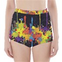 Crazy Multicolored Double Running Splashes Horizon High-Waisted Bikini Bottoms View1